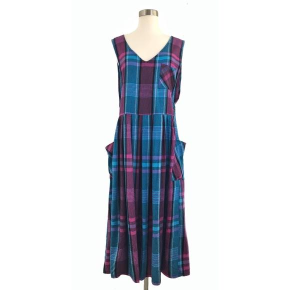 b1dc50aedb Vintage Dresses | Pink Blue Plaid Maxi Pocket Jumper Large | Poshmark